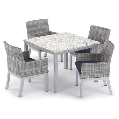 Oxford Garden Travira 5-piece 39-inch Lite-Core Ash Dining Table & Argento Resin Wicker Armchair Set - Midnight Blue Cushions