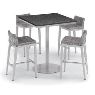 Oxford Garden Travira 5-piece 36-inch Lite-Core Square Bar Table & Argento Resin Wicker Side Rails Bar Stool Set