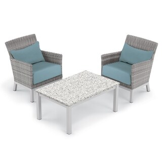 Oxford Garden Argento 3-piece Resin Wicker Club Chair & Travira Lite-Core Ash Coffee Table Set - Ice Blue Cushion & Pillow