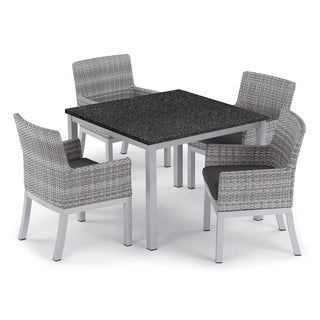 Oxford Garden Travira 5-piece 39-inch Lite-Core Dining Table & Argento Resin Wicker Armchair Set - Jet Black Cushions