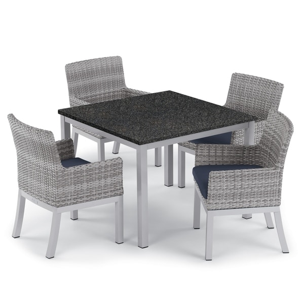Oxford Garden Travira 5-piece 39-inch Lite-Core Dining Table & Argento Resin Wicker Armchair Set - Midnight Blue Cushions