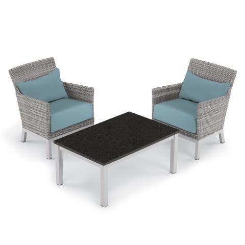Oxford Garden Argento 3-piece Resin Wicker Club Chair & Travira Lite-Core Coffee Table Set - Ice Blue Cushion & Pillow
