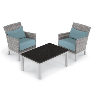 Oxford Garden Argento 3-piece Resin Wicker Club Chair & Travira Lite-Core Coffee Table Set - Ice Blue Cushion & Pillow