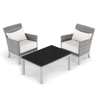 Oxford Garden Argento 3-piece Resin Wicker Club Chair & Travira Lite-Core Coffee Table Set - Eggshell White Cushion & Pillow