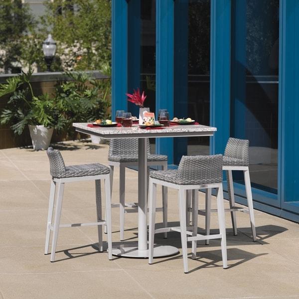 Oxford Garden Travira 5-piece 36-inch Lite-Core Ash Round Bar Table & Argento Resin Wicker Side Rails Bar Stool Set