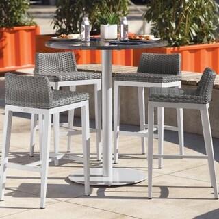 Oxford Garden Travira 5-piece 36-inch Lite-Core Round Bar Table & Argento Resin Wicker Side Rails Bar Stool Set
