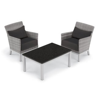Oxford Garden Argento 3-piece Resin Wicker Club Chair & Travira Lite-Core Coffee Table Set - Jet Black Cushion & Pillow