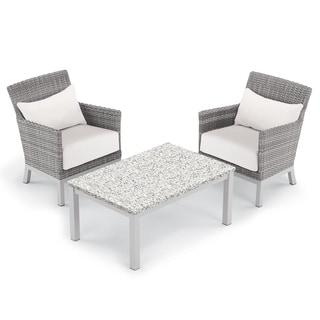 Oxford Garden Argento 3-piece Resin Wicker Club Chair & Travira Lite-Core Ash Coffee Table Set - Eggshell White Cushion & Pillow