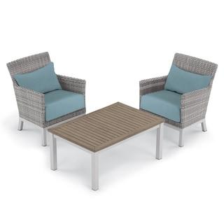Oxford Garden Argento 3-piece Resin Wicker Club Chair & Travira Tekwood Coffee Table Set - Ice Blue Cushion & Pillow