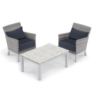 Oxford Garden Argento 3-piece Resin Wicker Club Chair & Travira Lite-Core Ash Coffee Table Set - Midnight Blue Cushion & Pillow