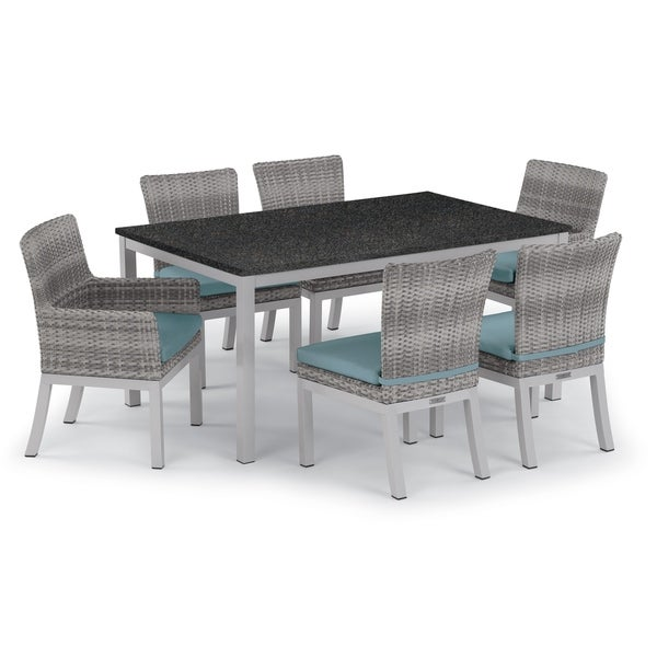 Oxford Garden Travira 7-piece 63-in x 40-in Lite-Core Table & Argento Resin Wicker Arm & Side Chair Set - Ice Blue Cushions