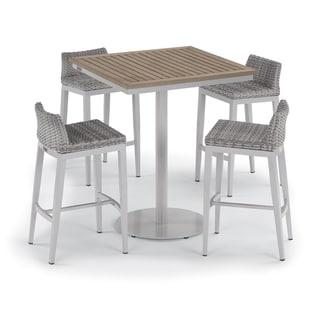 Oxford Garden Travira 5-piece 36-inch Tekwood Vintage Square Bar Table & Argento Resin Wicker Side Rails Bar Stool Set