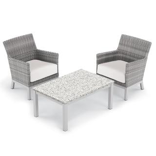 Oxford Garden Argento 3-piece Resin Wicker Club Chair & Travira Lite-Core Ash Coffee Table Set - Eggshell White Cushions