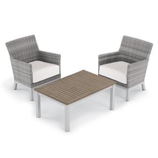 Oxford Garden Argento 3-piece Resin Wicker Club Chair & Travira Tekwood Vintage Coffee Table Set - Eggshell White Cushions