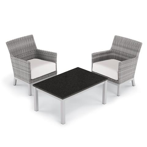 Oxford Garden Argento 3-piece Resin Wicker Club Chair & Travira Coffee Lite-Core Table Set - Eggshell White Cushions