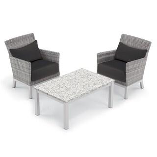 Oxford Garden Argento 3-piece Resin Wicker Club Chair & Travira Lite-Core Ash Coffee Table Set - Jet Black Cushion & Pillow