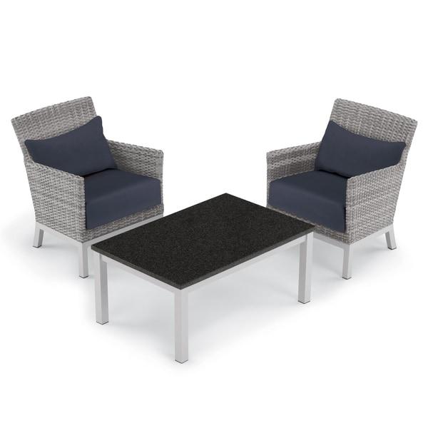 Oxford Garden Argento 3-piece Resin Wicker Club Chair & Travira Lite-Core Coffee Table Set - Midnight Blue Cushion & Pillow