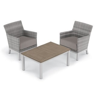 Oxford Garden Argento 3-piece Resin Wicker Club Chair & Travira Tekwood Vintage Coffee Table Set - Stone Cushions