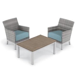 Oxford Garden Argento 3-piece Resin Wicker Club Chair & Travira Tekwood Vintage Coffee Table Set - Ice Blue Cushions