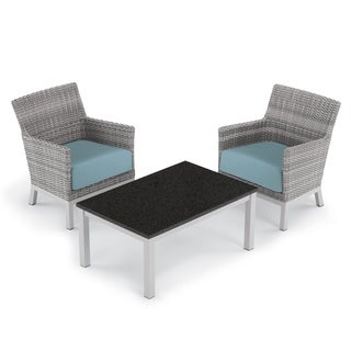 Oxford Garden Argento 3-piece Resin Wicker Club Chair & Travira Coffee Lite-Core Table Set - Ice Blue Cushions
