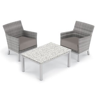 Oxford Garden Argento 3-piece Resin Wicker Club Chair & Travira Lite-Core Ash Coffee Table Set - Stone Cushions