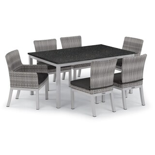 Oxford Garden Travira 7-piece 63-in x 40-in Lite-Core Table & Argento Resin Wicker Arm & Side Chair Set - Jet Black Cushions