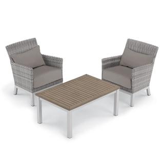 Oxford Garden Argento 3-piece Resin Wicker Club Chair & Travira Tekwood Coffee Table Set - Stone Cushion & Pillow
