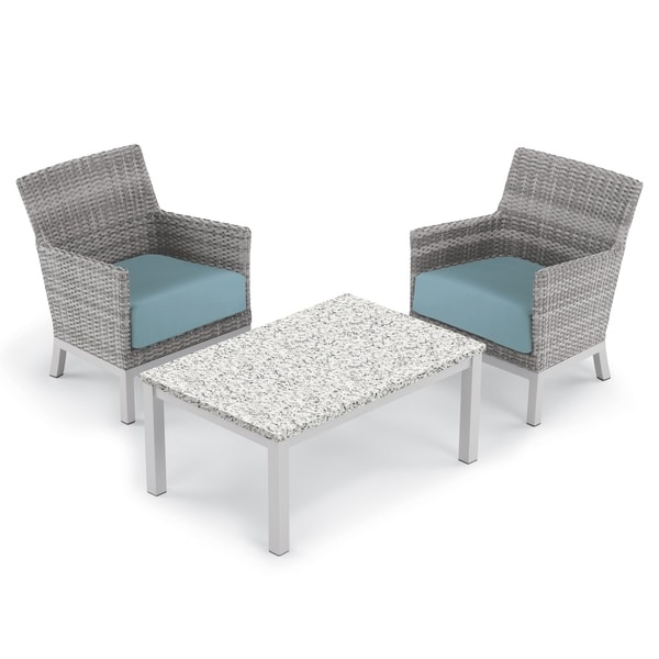 Oxford Garden Argento 3-piece Resin Wicker Club Chair & Travira Lite-Core Ash Coffee Table Set - Ice Blue Cushions