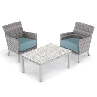 Oxford Garden Argento 3-piece Resin Wicker Club Chair & Travira Lite-Core Ash Coffee Table Set - Ice Blue Cushions