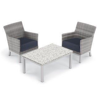 Oxford Garden Argento 3-piece Resin Wicker Club Chair & Travira Lite-Core Ash Coffee Table Set - Midnight Blue Cushions