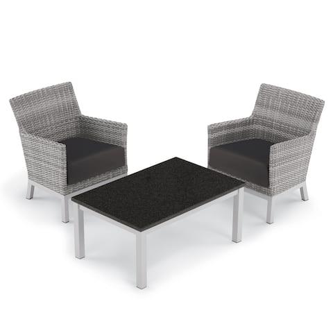 Oxford Garden Argento 3-piece Resin Wicker Club Chair & Travira Coffee Lite-Core Table Set - Jet Black Cushions