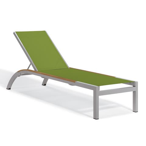 Oxford Garden Argento Armless Chaise Lounge with Tekwood Natural Side Rails - Go Green Sling(Set of 4)