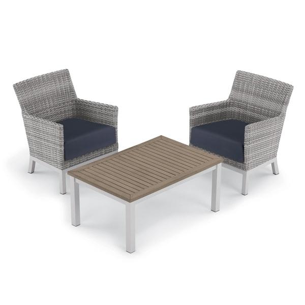 Oxford Garden Argento 3-piece Resin Wicker Club Chair & Travira Tekwood Vintage Coffee Table Set - Midnight Blue Cushions