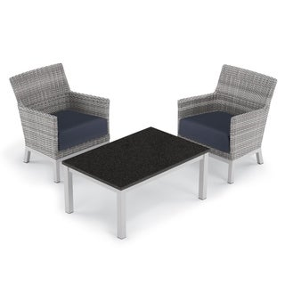 Oxford Garden Argento 3-piece Resin Wicker Club Chair & Travira Coffee Lite-Core Table Set - Midnight Blue Cushions