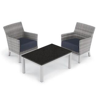 Oxford Garden Argento 3-piece Resin Wicker Club Chair & Travira Coffee Lite-Core Table Set - Midnight Blue Cushions