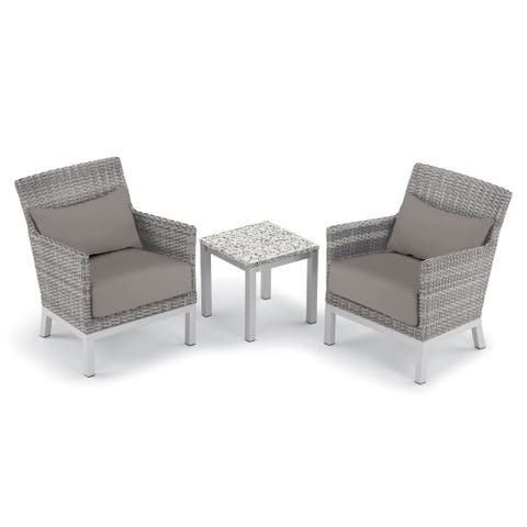 Oxford Garden Argento 3-piece Resin Wicker Club Chair, Pillows & Travira Lite-Core Ash End Table Set - Stone Cushions