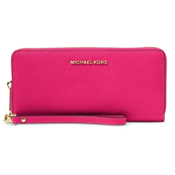 dcd3c0161066 Shop Michael Kors Jet Set Travel Continental Ultra Pink Wallet - Free  Shipping Today - Overstock - 20228374
