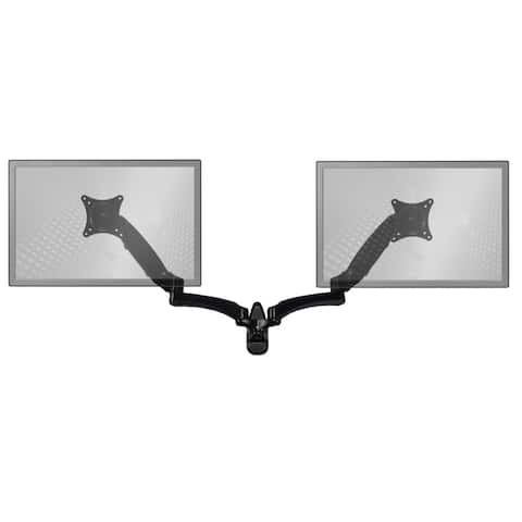 Sit-Stand Wall Mount Monitor Arm: Extended Dual Screen Black