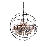 Royce Edge 18 light Dark Bronze Chandelier - dark bronze royal cut golden teak (smoky) crystals