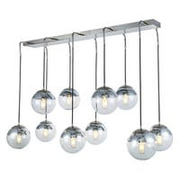 Royce Edge Polished Nickel-finished Metal 10-light Chandelier with Clear Glass Shades