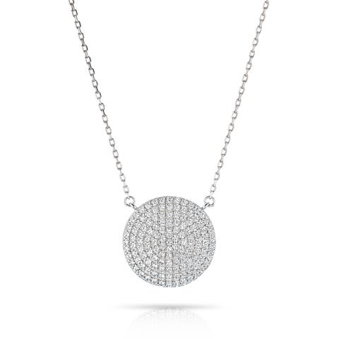Pori Jewelers Sterling Silver Pave Disc Pendant Necklace Crystal By Swarovski Elements
