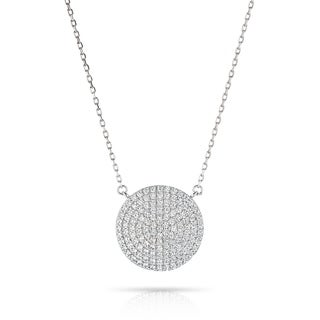 Pori Jewelers Sterling Silver Pave Disc Pendant Necklace Crystal By Swarovski
