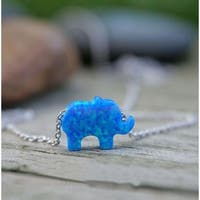 Pori Jewelers Sterling Silver Blue Elephant Opal Pendant Necklace