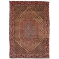 eCarpetGallery  Hand-knotted Senneh Cream, Red Wool Rug (8'0 x 11'6)