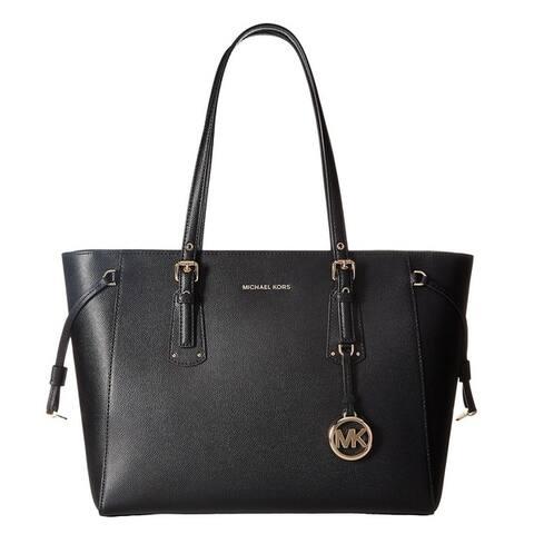 Michael Kors Voyager Medium Black Top Zip Tote Bag
