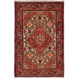 Hand-knotted Hamadan Copper Wool Rug - 3'3 x 4'10
