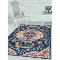 "Westfield Home Versailles Dacre Midnight Blue Runner Rug - 2'7"" x 7'2"""
