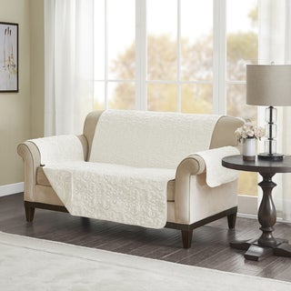 Madison Park Syracuse Embroidered Faux Fur Loveseat Protector