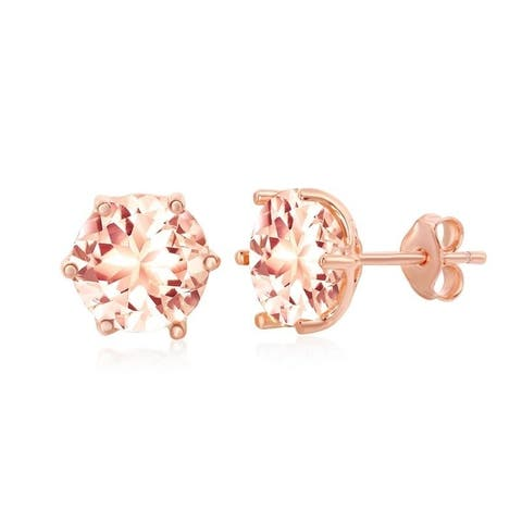 La Preciosa Sterling Silver Rose Gold Plated 8mm Round or Eight- Prong Pear-Shaped Morganite CZ Stud Earrings