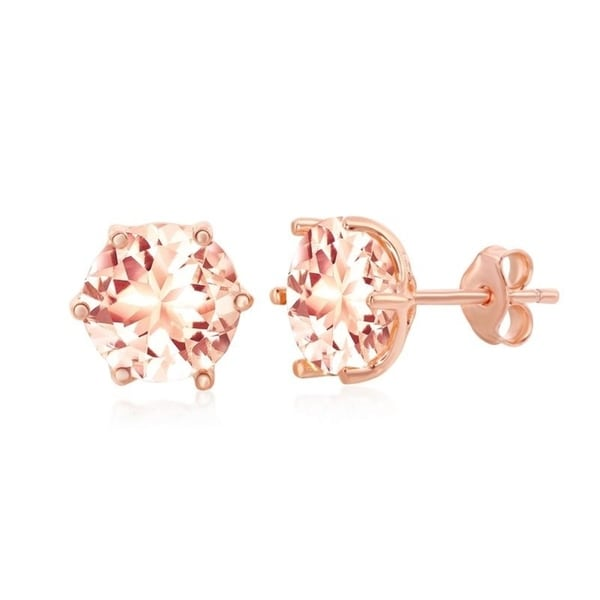 La Preciosa Sterling Silver Rose Gold Plated 8mm Round or Eight- Prong Pear-Shaped Morganite CZ Stud Earrings. Opens flyout.